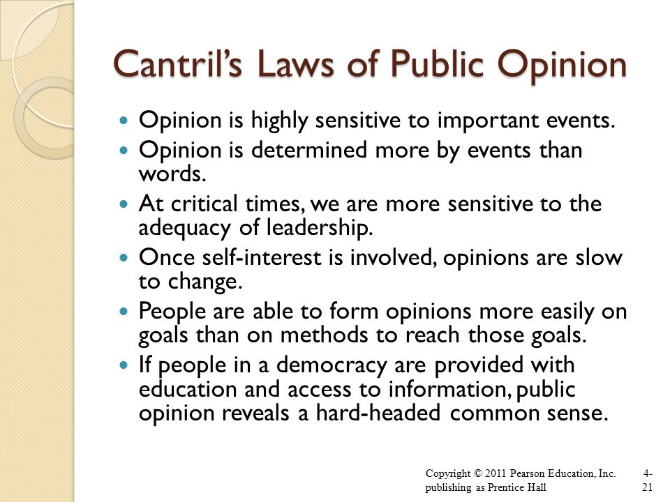 Cantril's Laws of Public Opinion Opinion is highly sensitive to important events.