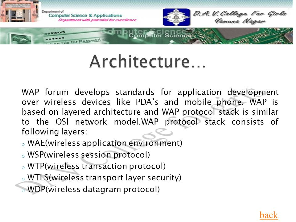 WAP forum develops standards for application development over wireless devices like PDA's and mobile phone.