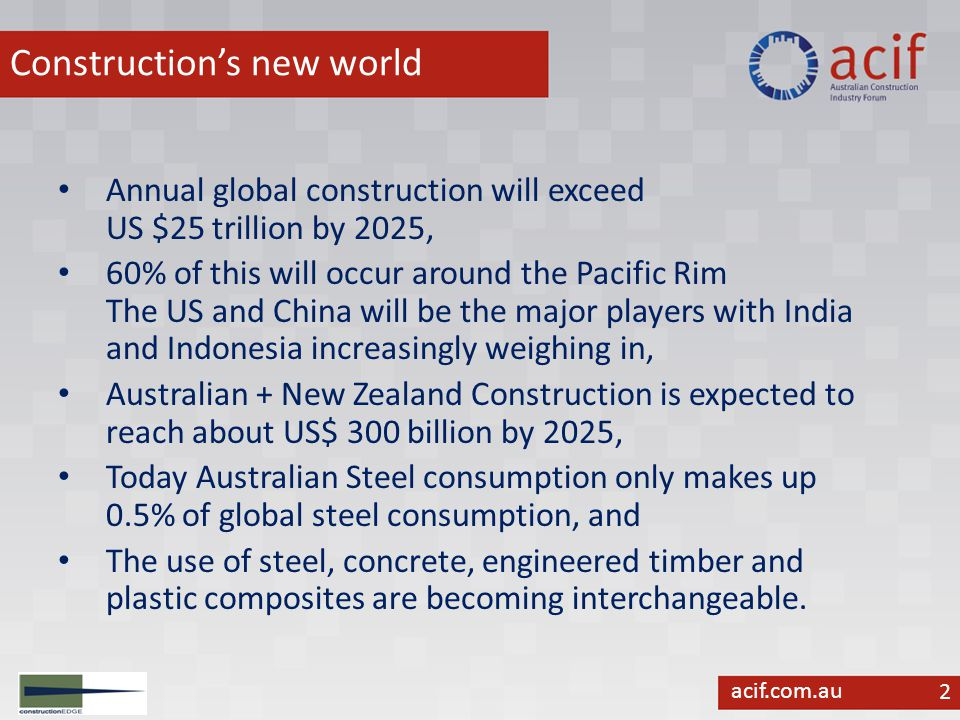 acif.com.au Global Construction Trends 3 Construction is becoming industrialised, Like other industries construction will increasingly be defined by - smarter, faster, better and cheaper, Indian Construction is adopting - German quality at Chinese prices as a benchmark, The construction supply chain is already global, This will redefine the way the industry uses ICT's, makes progress payments & certifies its inputs, and Construction processes are going off-site (and for Australia increasingly off-shore including many jobs).