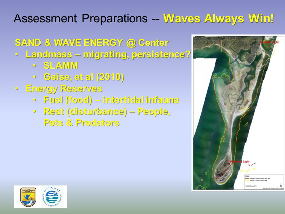 SAND & WAVE ENERGY @ Center Landmass – migrating, persistence Landmass – migrating, persistence.