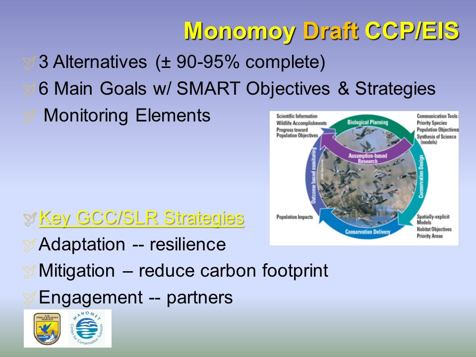 Monomoy Draft CCP/EIS  3 Alternatives (± 90-95% complete)  6 Main Goals w/ SMART Objectives & Strategies  Monitoring Elements  Key GCC/SLR Strategies  Adaptation -- resilience  Mitigation – reduce carbon footprint  Engagement -- partners
