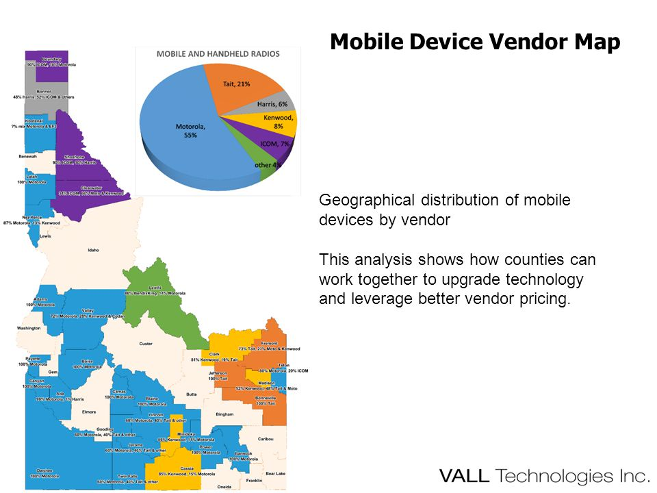 Mobile Device Vendor Map Geographical distribution of mobile devices by vendor This analysis shows how counties can work together to upgrade technology and leverage better vendor pricing.