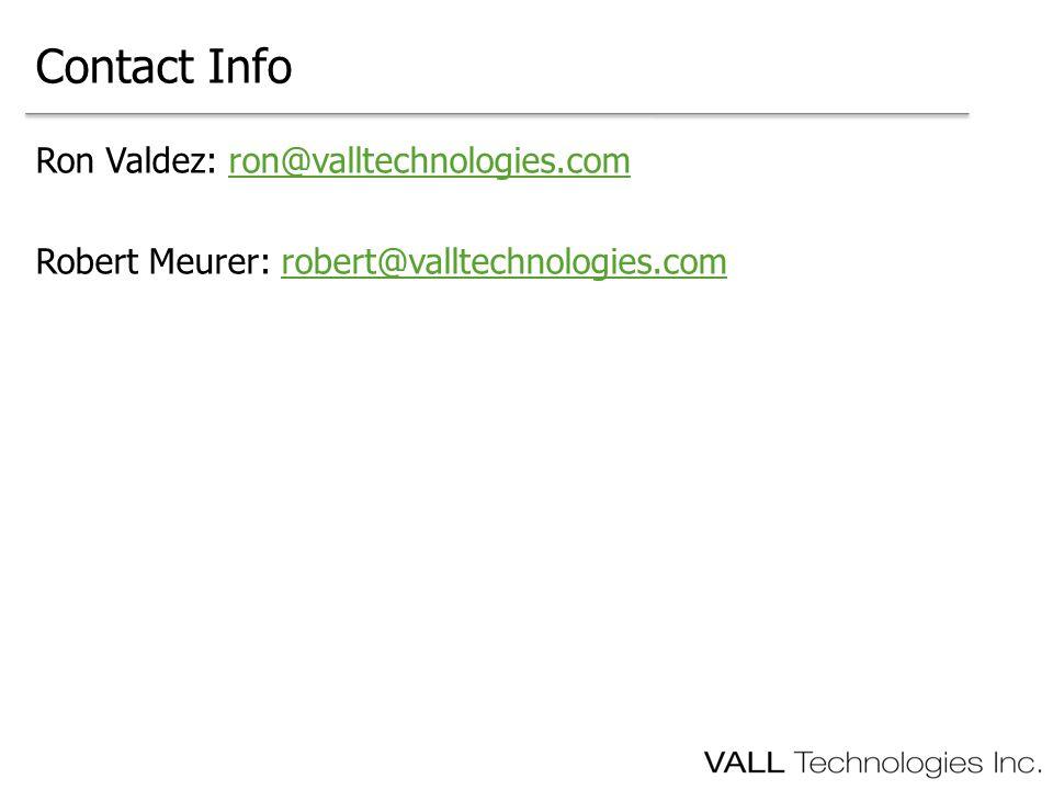Ron Valdez: ron@valltechnologies.comron@valltechnologies.com Robert Meurer: robert@valltechnologies.comrobert@valltechnologies.com Contact Info
