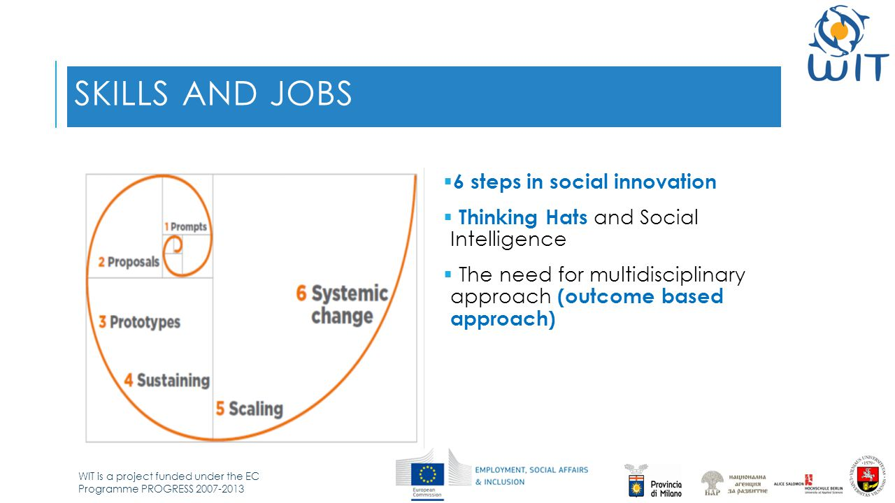 WIT is a project funded under the EC Programme PROGRESS 2007-2013 SKILLS AND JOBS  6 steps in social innovation  Thinking Hats and Social Intelligence  The need for multidisciplinary approach (outcome based approach)