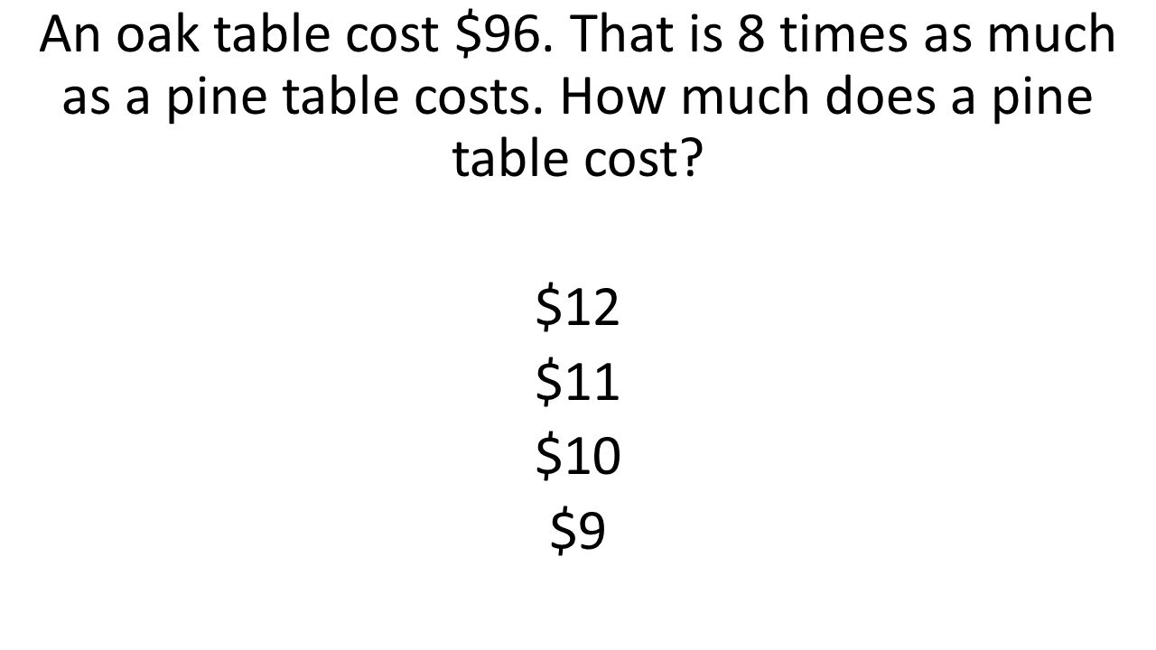 An oak table cost $96. That is 8 times as much as a pine table costs. How much does a pine table cost? $12 $11 $10 $9