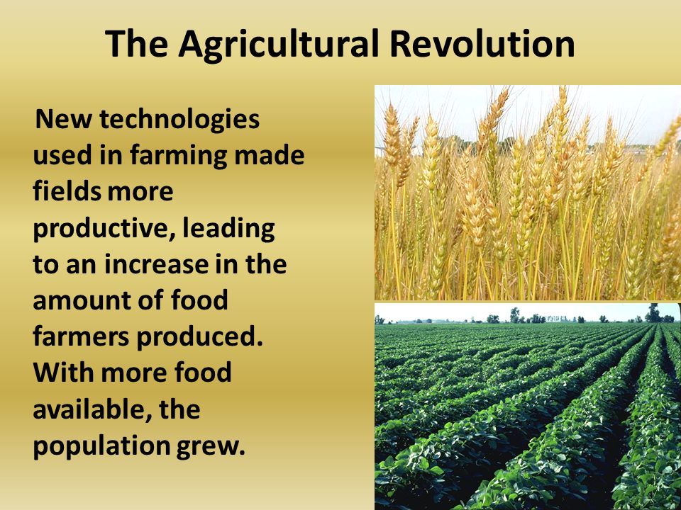 The Agricultural Revolution New technologies used in farming made fields more productive, leading to an increase in the amount of food farmers produced.