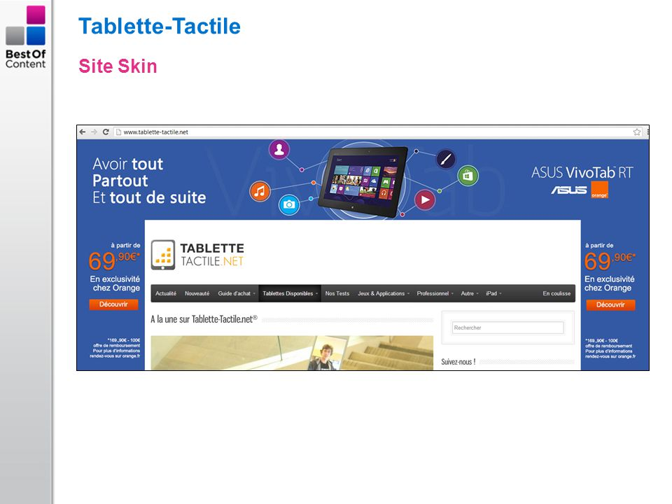 Tablette-Tactile Site Skin
