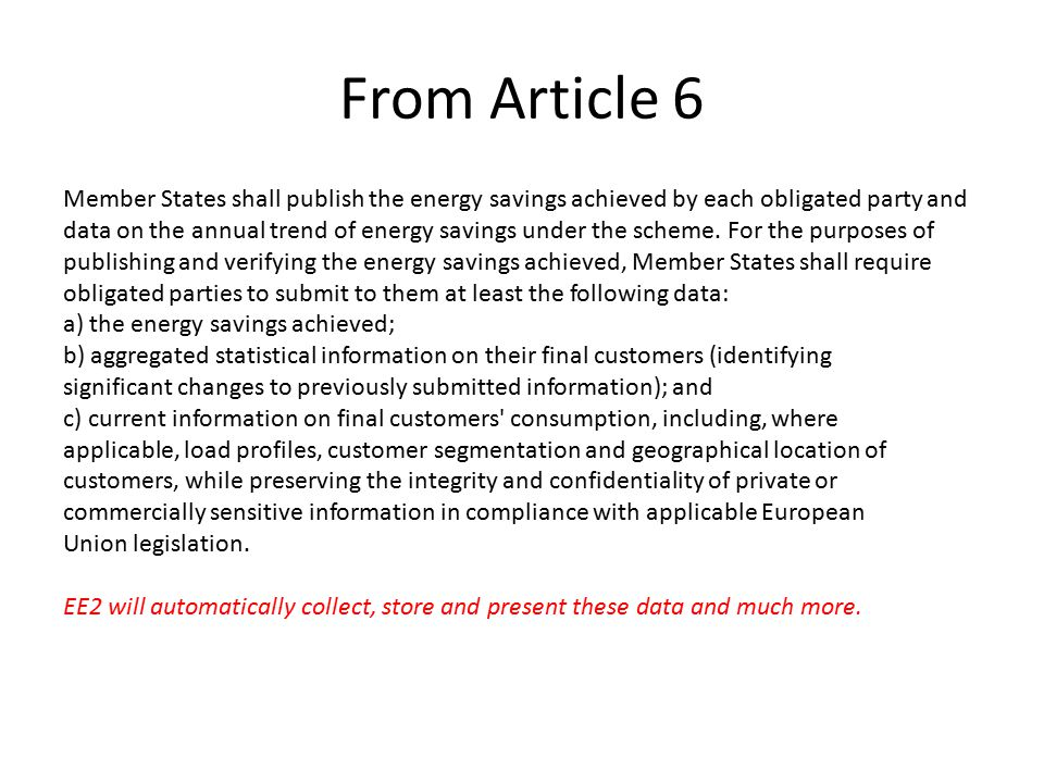 From Article 6 Member States shall publish the energy savings achieved by each obligated party and data on the annual trend of energy savings under th