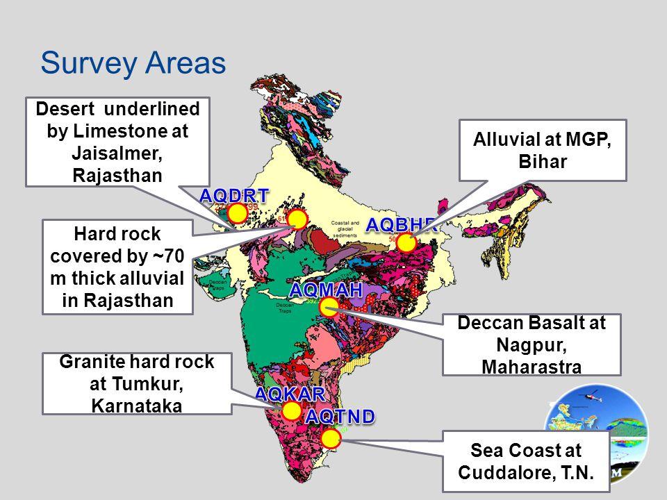Desert underlined by Limestone at Jaisalmer, Rajasthan Granite hard rock at Tumkur, Karnataka Deccan Basalt at Nagpur, Maharastra Sea Coast at Cuddalore, T.N.