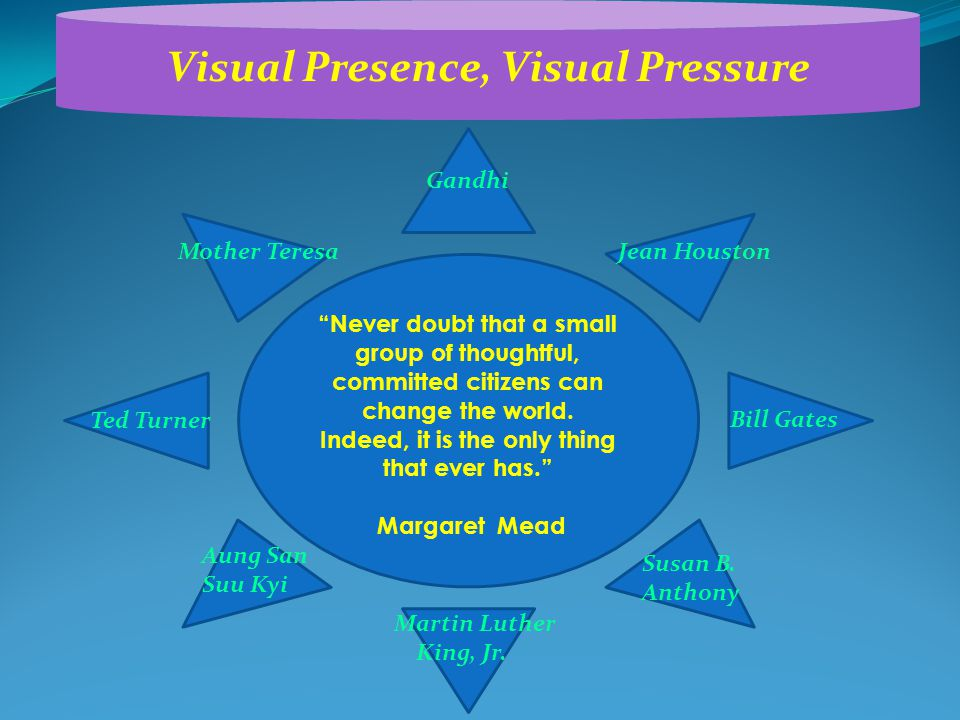 """Visual Presence, Visual Pressure """"Never doubt that a small group of thoughtful, committed citizens can change the world. Indeed, it is the only thing"""