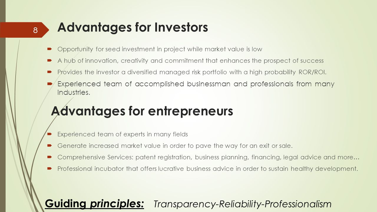Guiding principles: Transparency-Reliability-Professionalism 8 Advantages for Investors  Opportunity for seed investment in project while market value is low  A hub of innovation, creativity and commitment that enhances the prospect of success  Provides the investor a diversified managed risk portfolio with a high probability ROR/ROI.