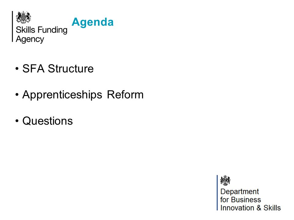 Agency Structure Chief Executive Office Funding & Programmes Operations Apprenticeships & Delivery Services