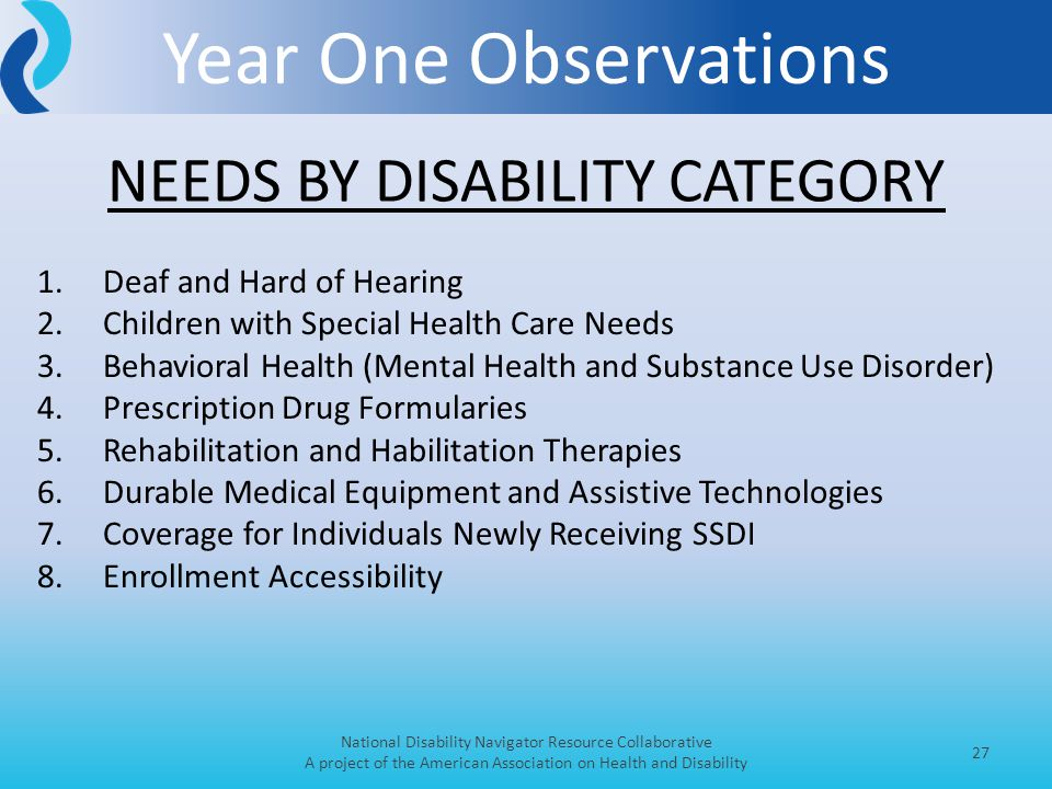 Year One Observations National Disability Navigator Resource Collaborative A project of the American Association on Health and Disability 27 1.Deaf and Hard of Hearing 2.Children with Special Health Care Needs 3.Behavioral Health (Mental Health and Substance Use Disorder) 4.Prescription Drug Formularies 5.Rehabilitation and Habilitation Therapies 6.Durable Medical Equipment and Assistive Technologies 7.Coverage for Individuals Newly Receiving SSDI 8.Enrollment Accessibility NEEDS BY DISABILITY CATEGORY