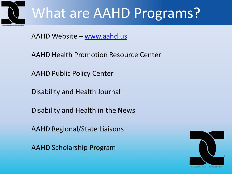 What are AAHD Programs.