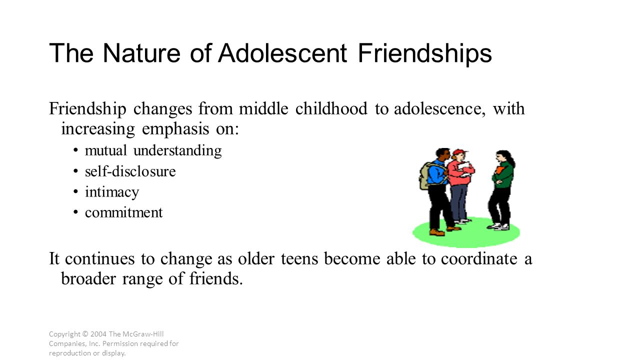 Copyright © 2004 The McGraw-Hill Companies, Inc. Permission required for reproduction or display. The Nature of Adolescent Friendships Friendship chan
