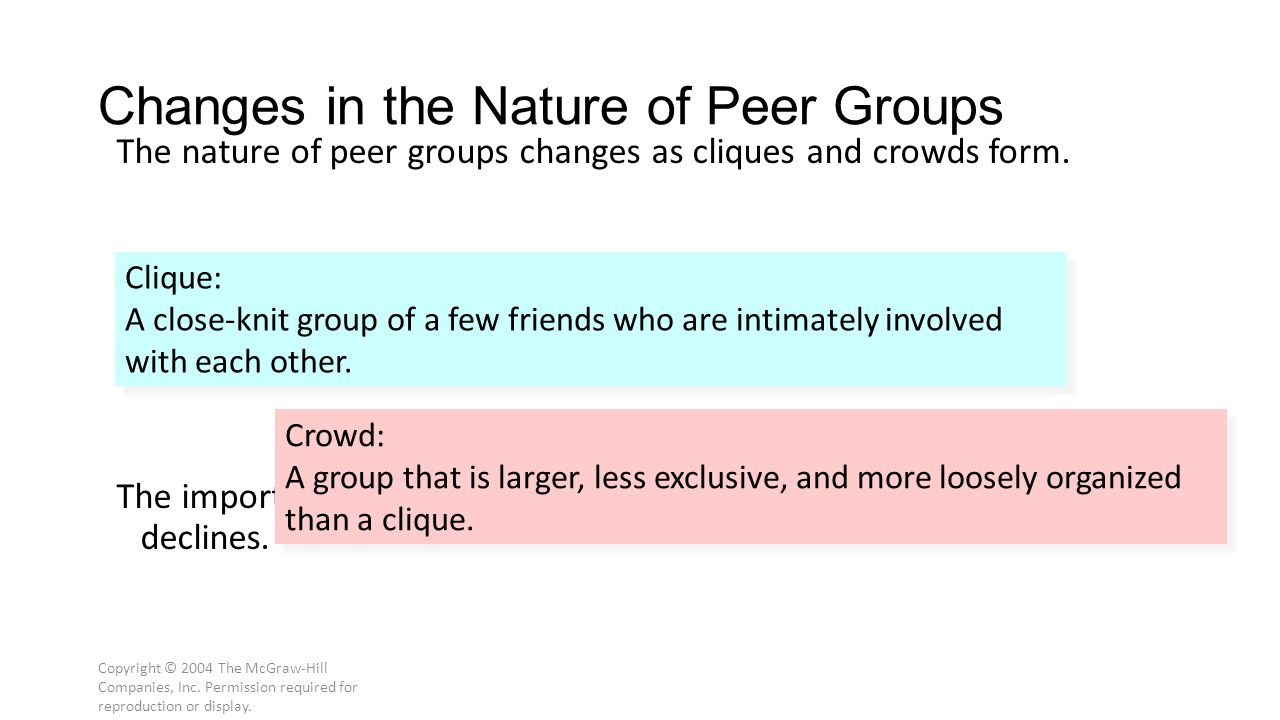 Copyright © 2004 The McGraw-Hill Companies, Inc. Permission required for reproduction or display. Changes in the Nature of Peer Groups The nature of p