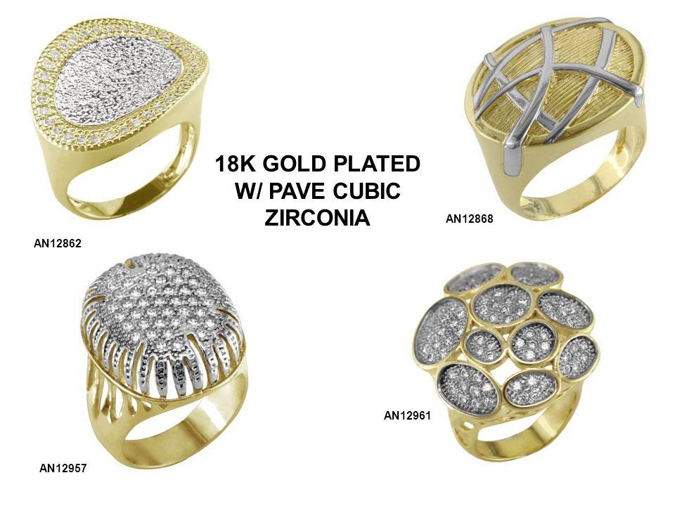 AN12862 AN12868 AN12957 AN12961 18K GOLD PLATED W/ PAVE CUBIC ZIRCONIA