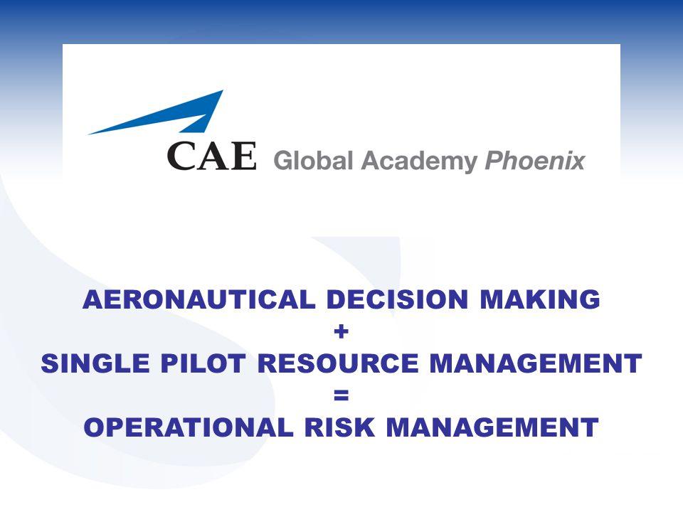AERONAUTICAL DECISION MAKING + SINGLE PILOT RESOURCE MANAGEMENT = OPERATIONAL RISK MANAGEMENT
