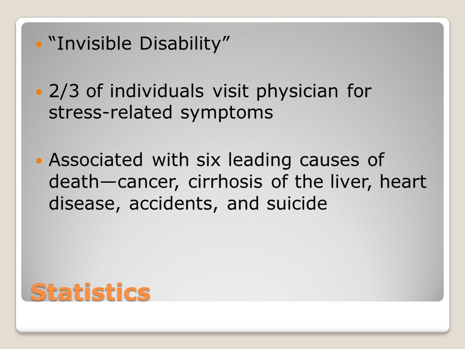 Statistics Invisible Disability 2/3 of individuals visit physician for stress-related symptoms Associated with six leading causes of death—cancer, cirrhosis of the liver, heart disease, accidents, and suicide
