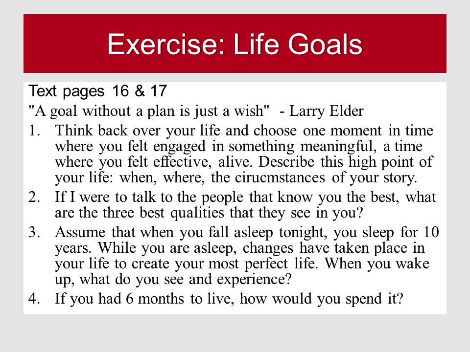 Exercise: Life GoalsExercise: Life Goals Text pages 16 & 17 A goal without a plan is just a wish - Larry Elder 1.Think back over your life and choose one moment in time where you felt engaged in something meaningful, a time where you felt effective, alive.