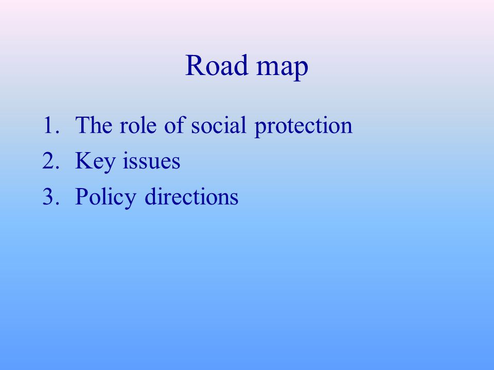Road map 1.The role of social protection 2.Key issues 3.Policy directions