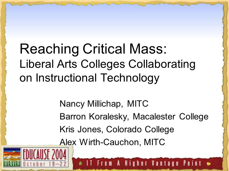 Teaching with GIS in the Liberal Arts Kris Jones Colorado College ktjones@ColoradoCollege.edu http://www.midwest-itc.org/~ccgis04/