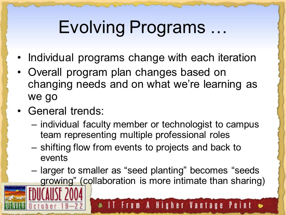 A Key Identified Need: Professional Development On small campuses, everyone's a generalist - But needs for special expertise are growing - MITC programs serve technologists, faculty members, librarians, others in academic support Different roles call for different - but coordinated - approaches to continued learning, skill development