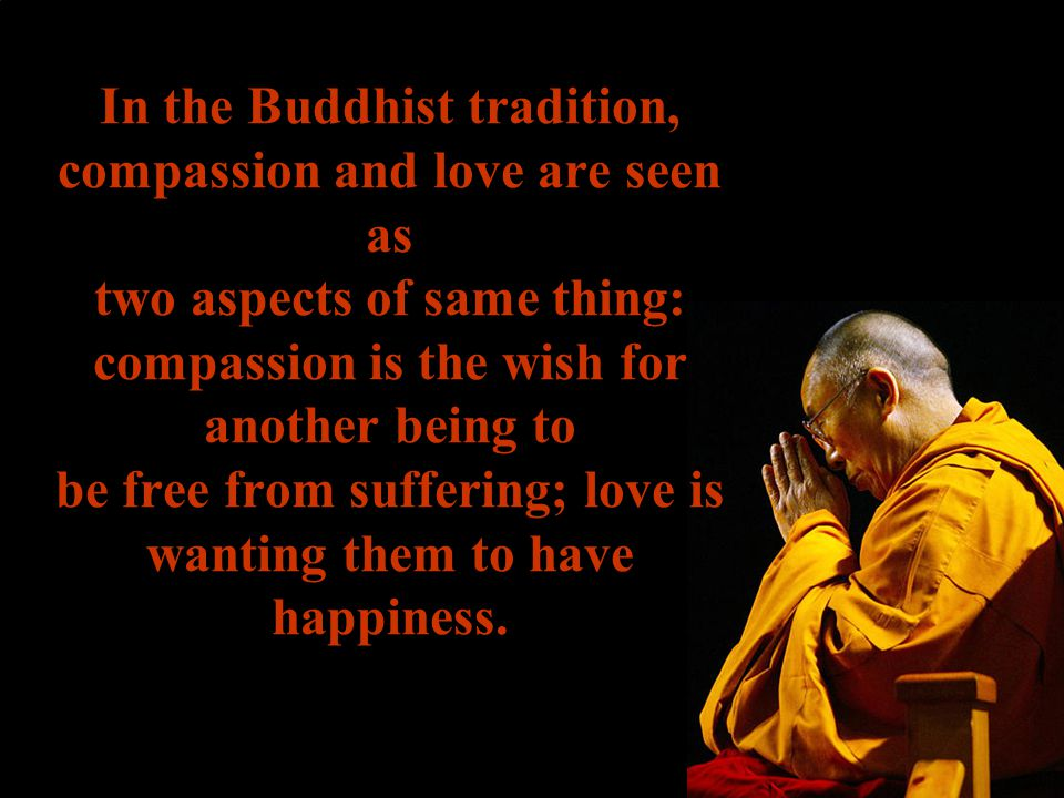 In the Buddhist tradition, compassion and love are seen as two aspects of same thing: compassion is the wish for another being to be free from sufferi