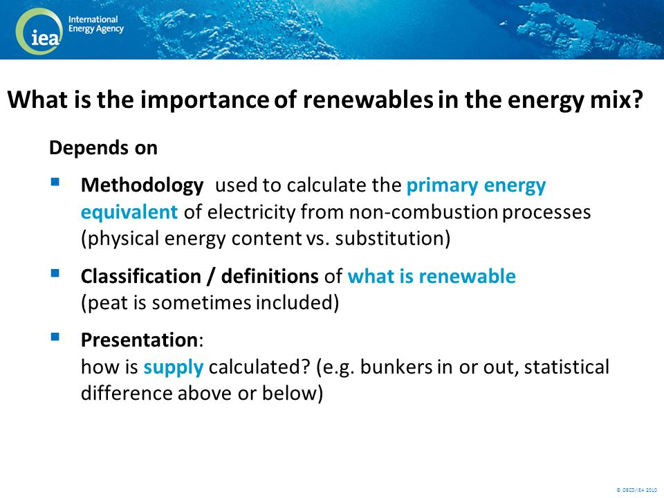 © OECD/IEA 2010 What is the importance of renewables in the energy mix.