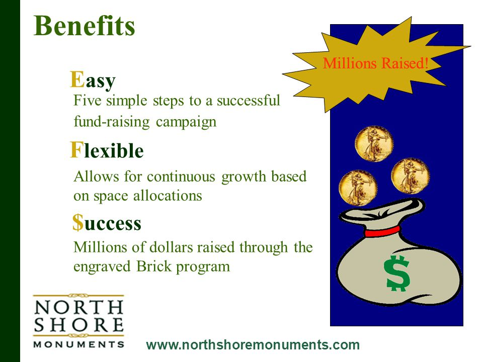 Benefits www.northshoremonuments.com E asy F lexible $ uccess Five simple steps to a successful fund-raising campaign Allows for continuous growth based on space allocations Millions of dollars raised through the engraved Brick program Millions Raised!
