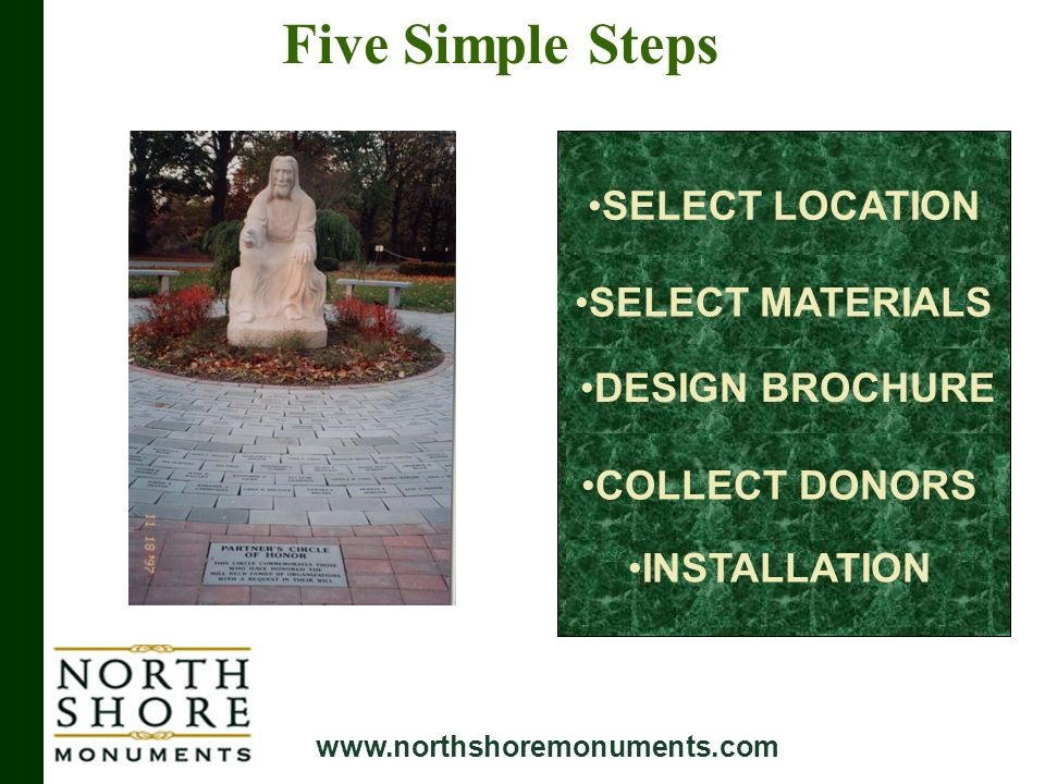 Five Simple Steps INSTALLATION COLLECT DONORS DESIGN BROCHURE SELECT MATERIALS SELECT LOCATION www.northshoremonuments.com