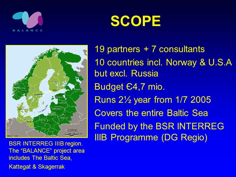 SCOPE BSR INTERREG IIIB region.