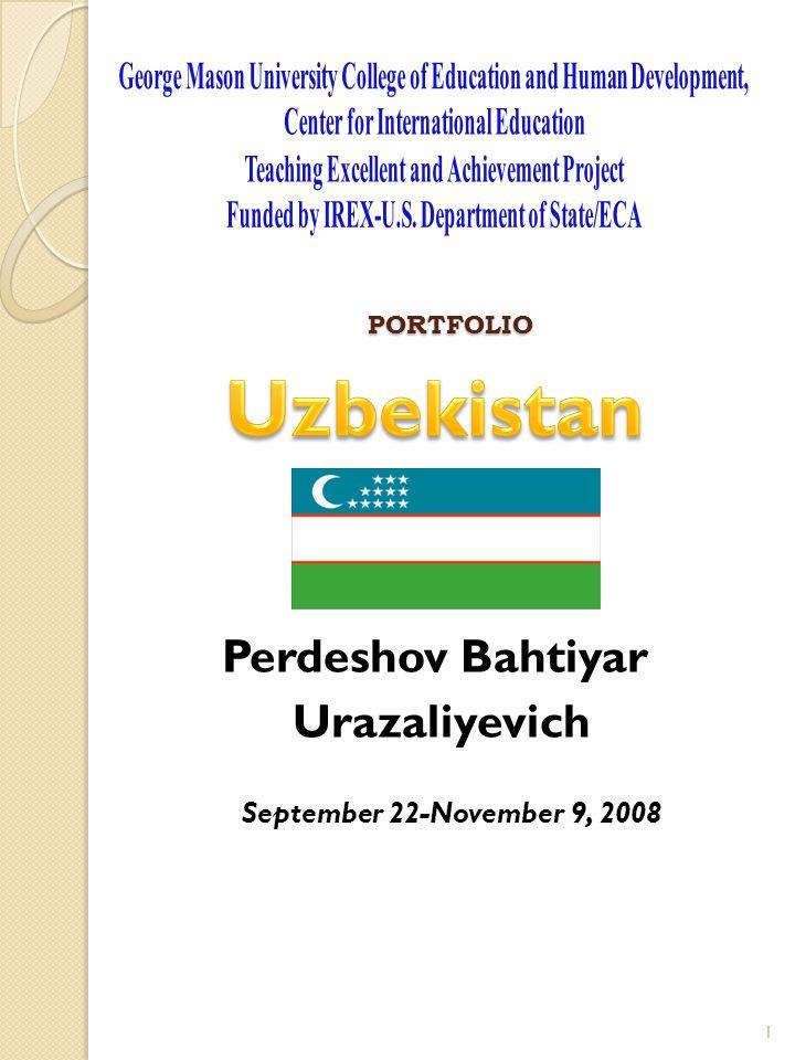 PORTFOLIO Perdeshov Bahtiyar Urazaliyevich September 22-November 9, 2008 1
