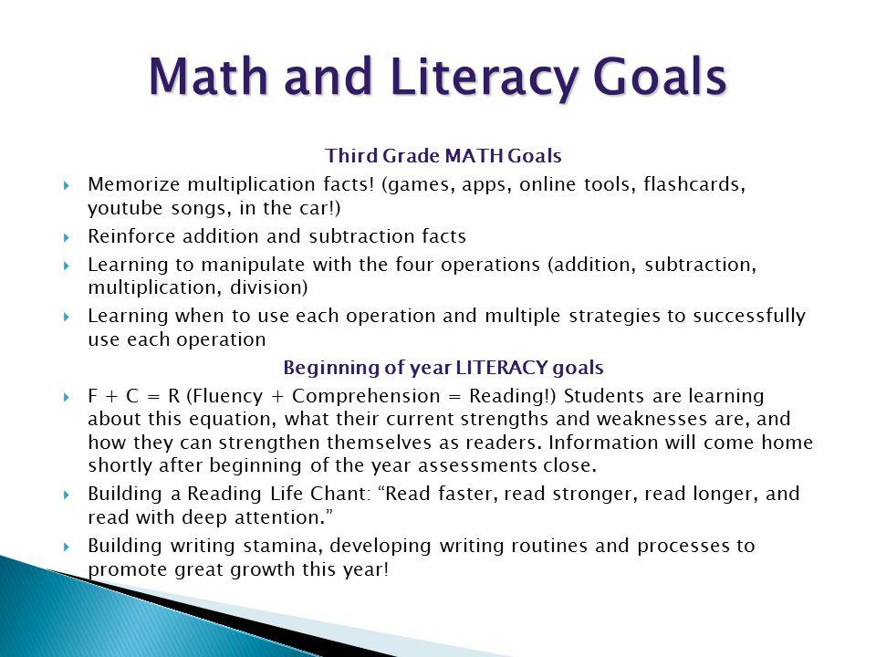 Third Grade MATH Goals  Memorize multiplication facts.