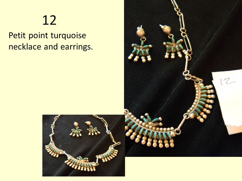12 Petit point turquoise necklace and earrings.