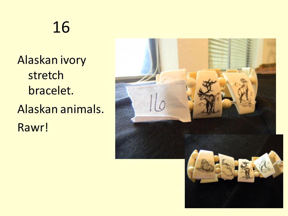 16 Alaskan ivory stretch bracelet. Alaskan animals. Rawr!