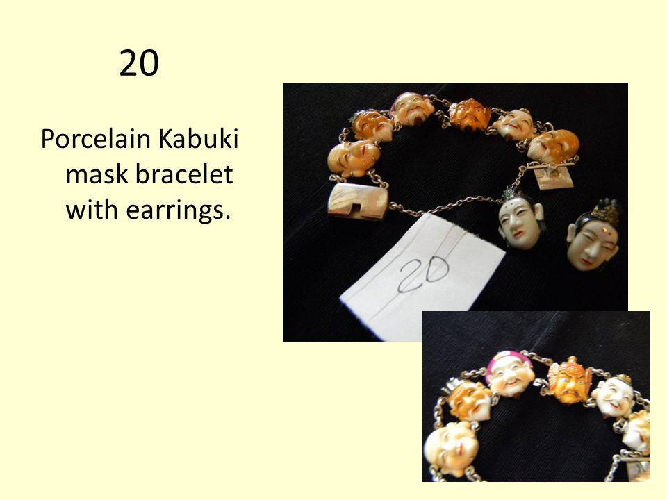 20 Porcelain Kabuki mask bracelet with earrings.