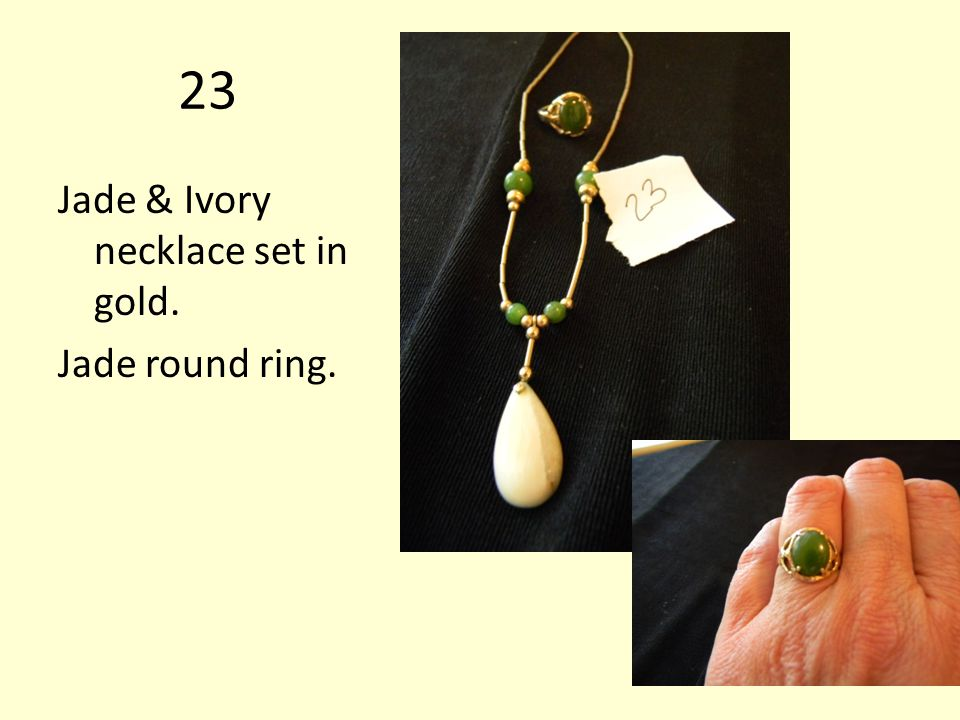 23 Jade & Ivory necklace set in gold. Jade round ring.