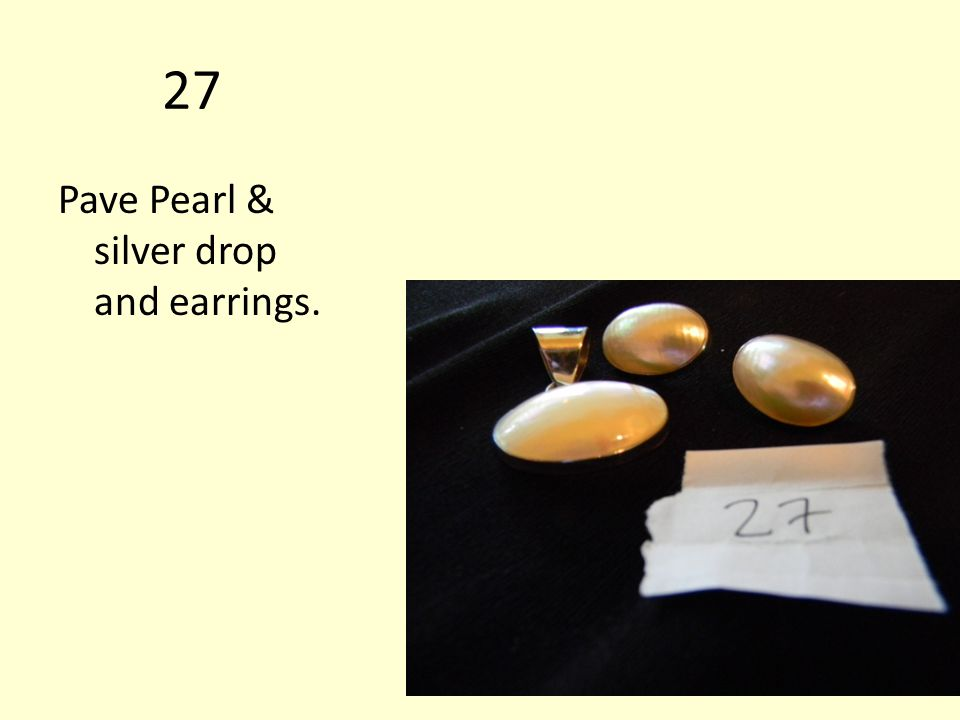 27 Pave Pearl & silver drop and earrings.