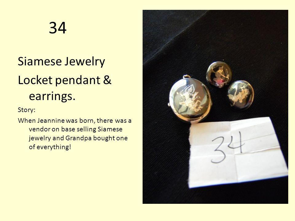 34 Siamese Jewelry Locket pendant & earrings.