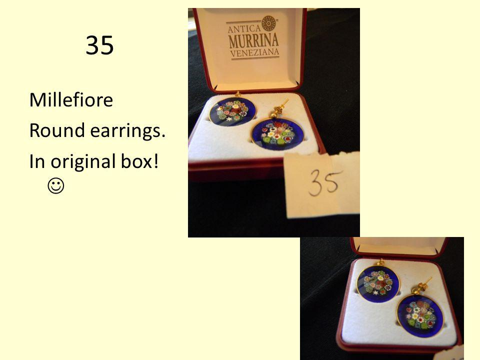 35 Millefiore Round earrings. In original box!