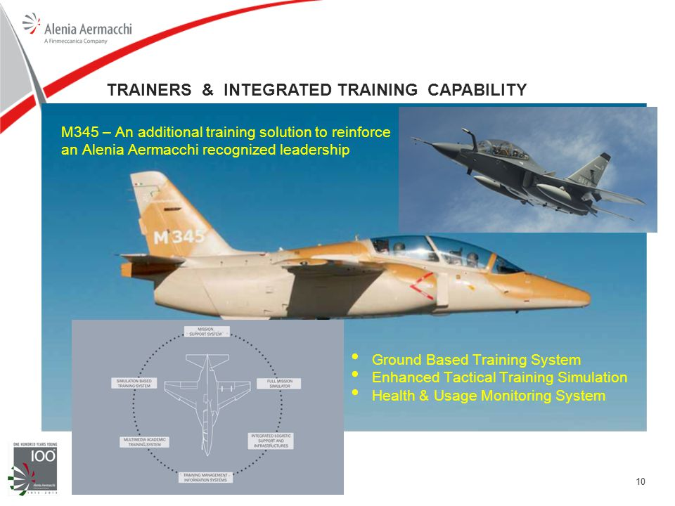 10 TRAINERS & INTEGRATED TRAINING CAPABILITY M345 – An additional training solution to reinforce an Alenia Aermacchi recognized leadership Ground Based Training System Enhanced Tactical Training Simulation Health & Usage Monitoring System