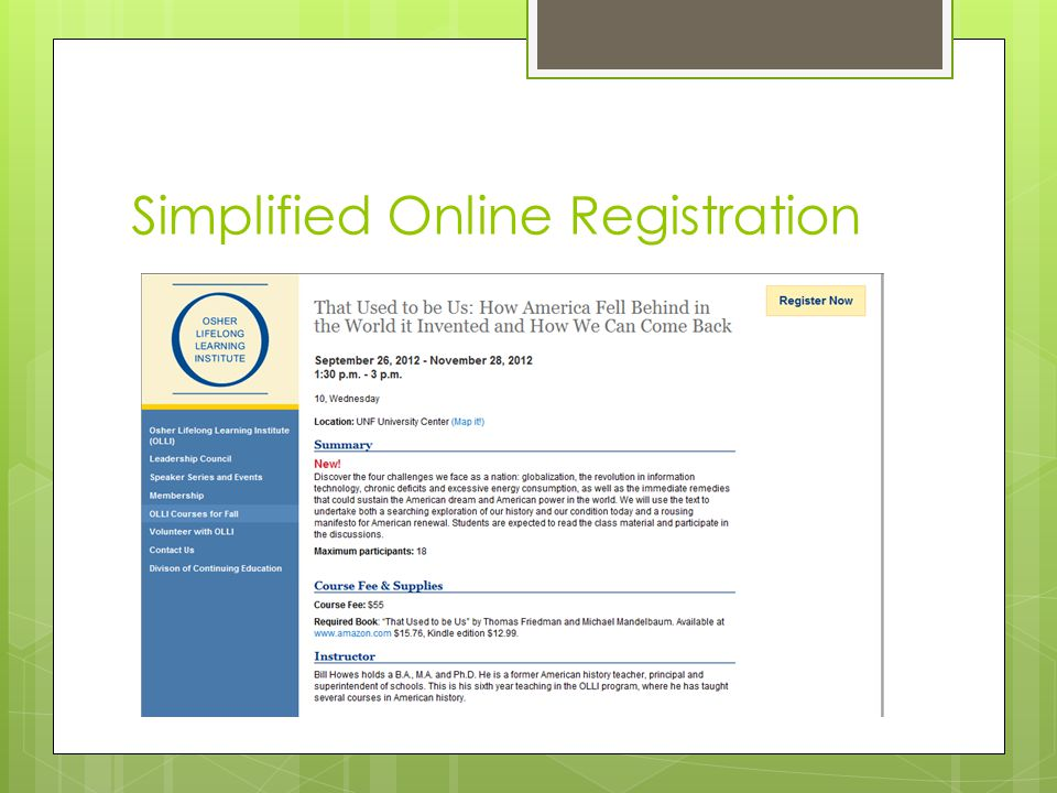 Simplified Online Registration