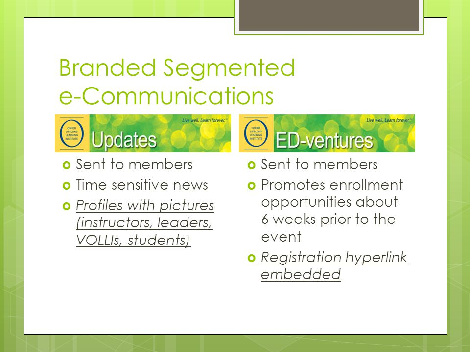 Branded Segmented e-Communications  Sent to members  Time sensitive news  Profiles with pictures (instructors, leaders, VOLLIs, students)  Sent to members  Promotes enrollment opportunities about 6 weeks prior to the event  Registration hyperlink embedded