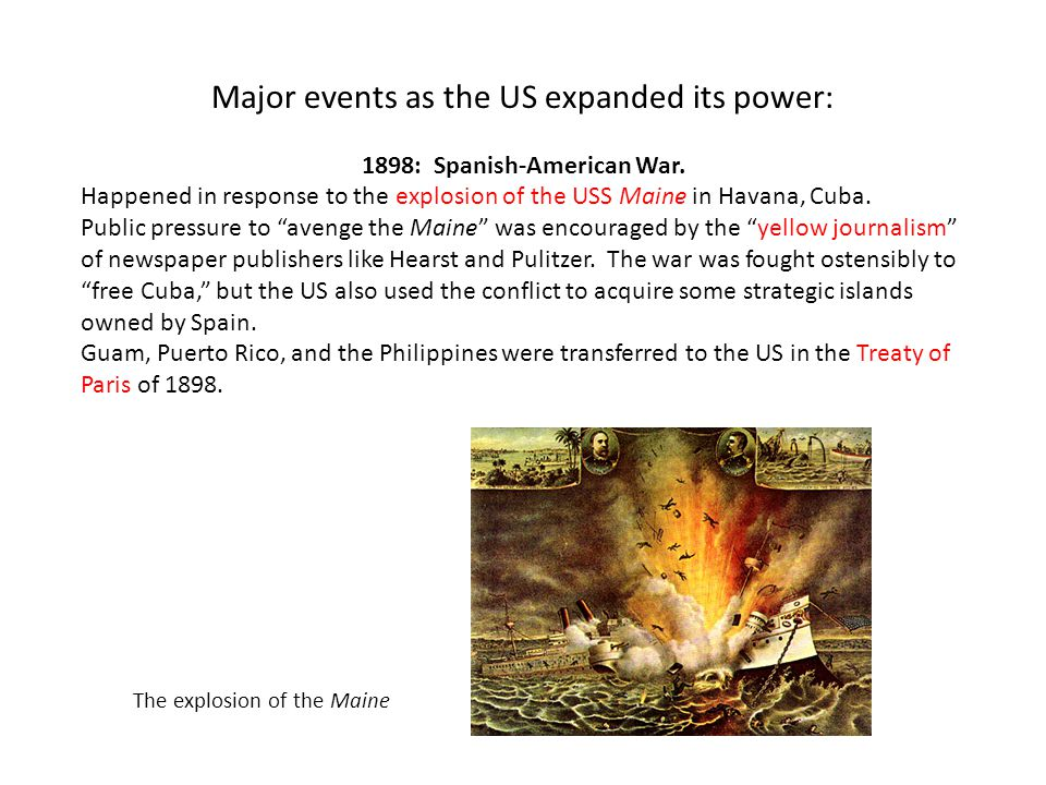 Major events as the US expanded its power: 1898: Spanish-American War.