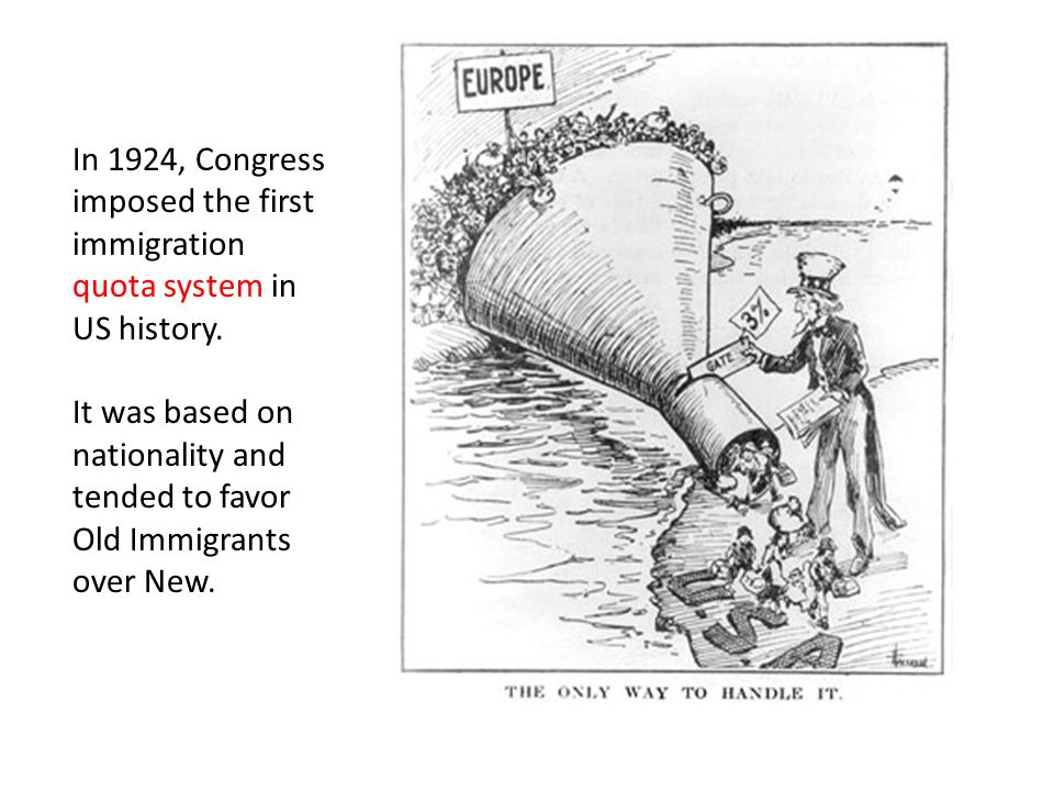 In 1924, Congress imposed the first immigration quota system in US history.