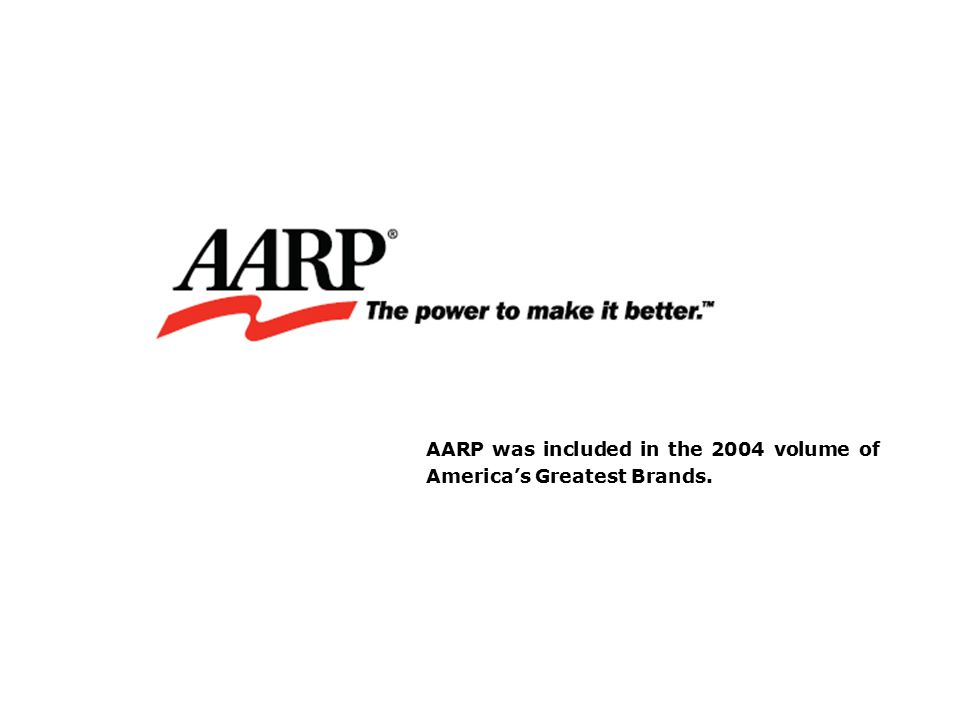 AARP was included in the 2004 volume of America's Greatest Brands.