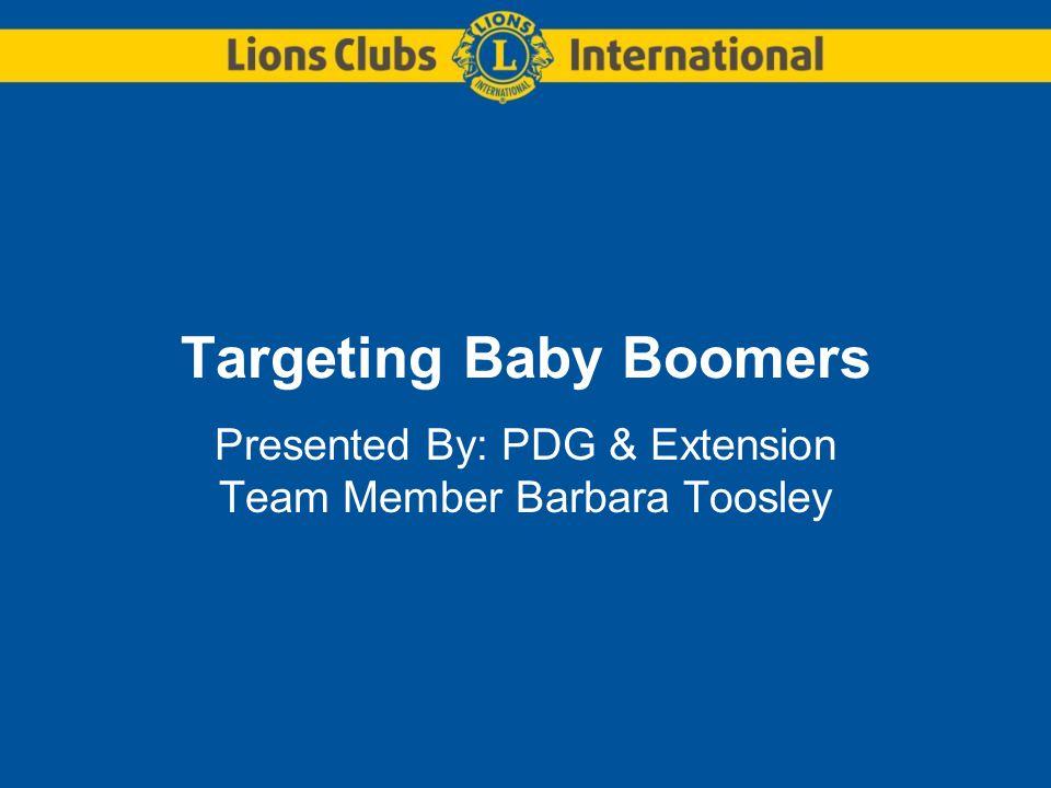 Targeting Baby Boomers Presented By: PDG & Extension Team Member Barbara Toosley