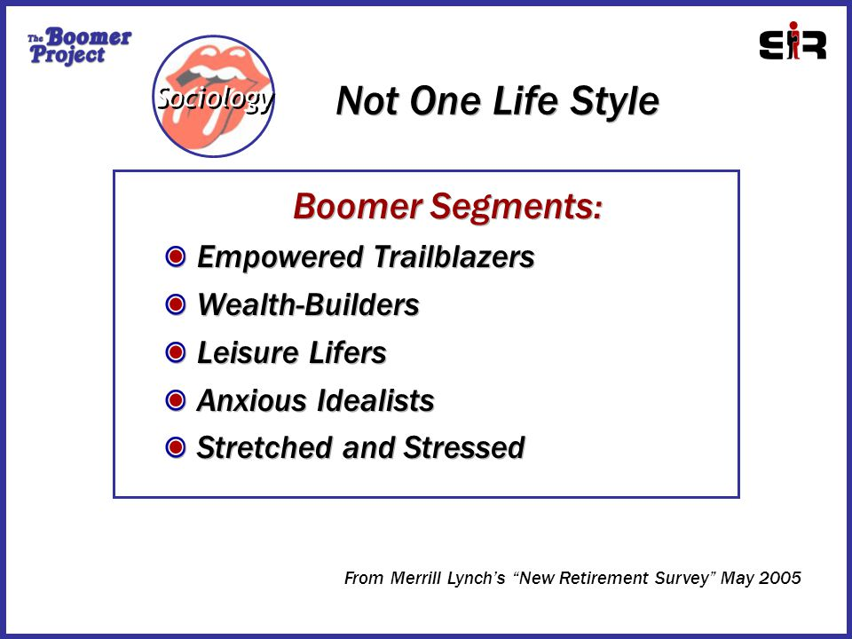 Not One Life Style Sociology Boomer Segments: Empowered Trailblazers Wealth-Builders Leisure Lifers Anxious Idealists Stretched and Stressed Boomer Segments: Empowered Trailblazers Wealth-Builders Leisure Lifers Anxious Idealists Stretched and Stressed From Merrill Lynch's New Retirement Survey May 2005