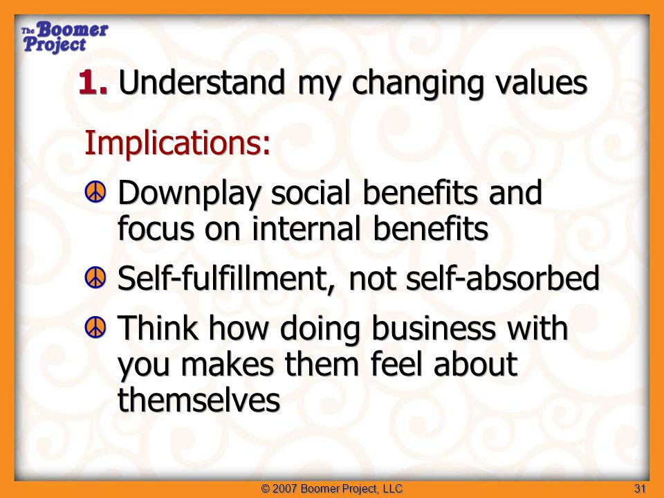 © 2007 Boomer Project, LLC31 Implications: Downplay social benefits and focus on internal benefits Self-fulfillment, not self-absorbed Think how doing business with you makes them feel about themselves Implications: Downplay social benefits and focus on internal benefits Self-fulfillment, not self-absorbed Think how doing business with you makes them feel about themselves 1.